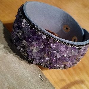 Jewelry - Suede Bracelet with Amethyst